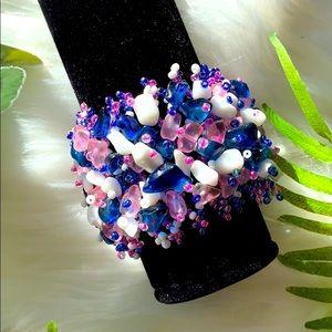 Beaded Weaved Cuff Bracelet